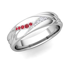 Wave Mens Wedding Band in 14k Gold Diamond and Ruby Ring, 5mm. This unique ruby and diamond wedding band for men in 14k gold at My Love Wedding Ring is custom made jewelry. Matching wedding bands and free ring engraving are available.