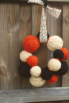Yarn Ball Wreath - endless  possiblities - color combo & yarn type to match any season/holiday