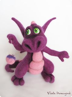 Needle Felted Toy  Little Purple Dragon by VladaHom on Etsy, $95.00