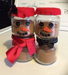 Hot cocoa snowmen! I made them out of baby food jars!
