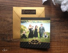 Elegant black and gold trifold Christmas photo card by Catherine Kiff-Vozza, Couture Stationer #ckv
