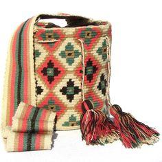 Wayuu Mochila Medium 1 hebra bag by Wayuu Chic winter pastel flower