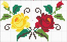 Simple Cross Stitch, Cross Stitch Rose, Cross Stitch Borders, Cross Stitch Flowers, Cross Stitch Charts, Cross Stitch Designs, Cross Stitching, Cross Stitch Embroidery, Embroidery Patterns