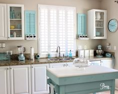 Aqua Kitchen- the perfect accent color, imho... but my dream counter is white & grey marble ;0) Color Accents, Accent Colors, Accessible Beige, Aqua Paint, Paint Colors, Little Cottages, Beach Cottages, Beach Cottage Decor, Beach Cottage Style