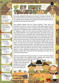 A collection of English ESL Thanksgiving worksheets for home learning, online practice, distance learning and English classes to teach about Esl Lessons, English Lessons, Learn English, English Class, English Activities, Reading Activities, English Resources, Thanksgiving Worksheets, Thanksgiving Songs