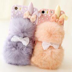 Moda de invierno cálido conejo de peluche de bolas de piel teléfono móvil case para iphone 5 5s 6 s 4 4S case cubierta protectora envío gratis FC-01
