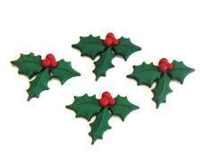6 x GLITTER HOLLY Christmas Leaf Berries Plastic Dress It Up Craft Embellishment