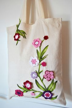 Flowers Shopper tote Cotton bag with Pink by KatiaFabricStudio Hand Embroidery Videos, Hand Embroidery Designs, Shopper Tote, Tote Bag, Crochet Crafts, Fabric Crafts, Sewing Pockets, Embroidery Flowers Pattern, Reusable Shopping Bags