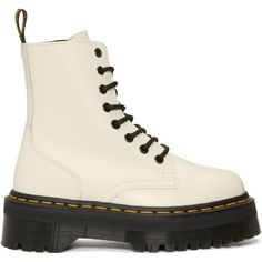 Dr. Martens White Jadon Boots (45.485 HUF) ❤ liked on Polyvore featuring shoes, boots, white, rounded toe boots, zip boots, white platform shoes, round toe platform boots and welted shoes