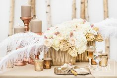 wedding centerpiece, reception flowers and decor in stone-washed colors – Rose Quartz, Iced Coffee and copper by TML | TABEA MARIA-LISA FLORISTIK UND DEKORATION | http://tabeamarialisa.ch/trendparade-2016/