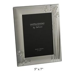 2 Tone Silver Plated Photo Frame Butterfly Design 5x7