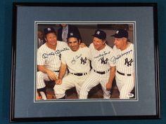 Mickey Mantle Joe DiMaggio Yogi Berra Whitey Ford Yankees Baseball signed Photo