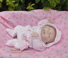 """OOAK suave Sculptured Bebé recém-nascido do Fretta, Têxtil Baby Doll, 47 centímetros / 18,5 """"de altura"""