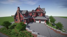 Red Old Mansion Minecraft building ideas 2