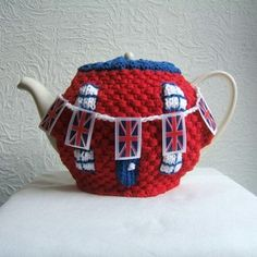 Union Jack Street Party Tea Cosy with Handing Knitted Bunting option, Egg Crown, Egg Brimmed Hat Cosys and Bunting Napkin Rings pdf KNITING PATTERN See Description for free pattern offer. $2.75, via Etsy.