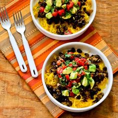 Vegan Spaghetti Squash and Black Bean Mexican Bowl - spaghetti squash, olive oil, ground cumin, Vege-Sal/salt, onion, minced garlic, chili powder, black beans, canned diced green Anaheim chiles, vegetable broth, Green Tabasco sauce (might sub other hot sauce), avocado, fresh squeezed lime juice, diced cherry/grape tomatoes, fresh cilantro