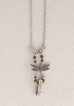 """Lilla Rose Inc - Prominent dragonfly with bronze metallic beads badge clip. Length 30"""""""