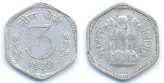 INDIA - 3 Paise (Year Description: Obverse: 3 in the middle, Hindi Script: 'Teen Paise' on top, year of minting below. Sell Old Coins, Gernal Knowledge, Coins For Sale, Ageing, Good Old, Silver Coins, Stamps, Notes, Indian