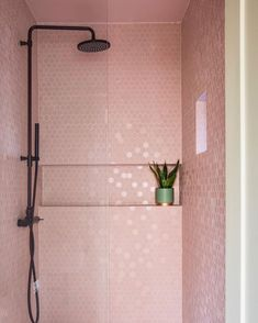 decor boho decor design ideas niche decor decor target decor quilt decor cheap bathroom decor decor ideas you tube Wet Room Bathroom, Pink Bathroom Tiles, Pink Tiles, Bathroom Goals, Modern Bathroom, Pink Kitchen Walls, Target Bathroom, 1920s Bathroom, Paris Bathroom