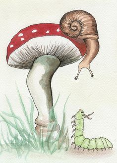 Snail and Caterpillar Art Print by Melissa Rohr Gindling. All prints are professionally printed, packaged, and shipped within 3 - 4 business days. Choose from multiple sizes and hundreds of frame and mat options. Mushroom Drawing, Mushroom Art, Kunst Inspo, Art Inspo, Caterpillar Art, Caterpillar Tattoo, Snail Art, Posca Art, Hippie Art