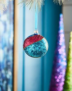 Playful Brights Collection Multi-Glitter Ornament