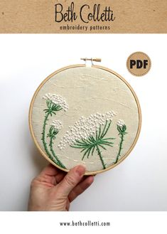 Queen annes lace pdf embroidery pattern diy crafts farmhouse decor neutral wall art rustic home decor hand embroidery hoop wall art Hungarian Embroidery, Folk Embroidery, Embroidery Transfers, Brazilian Embroidery, Learn Embroidery, Embroidery For Beginners, Hand Embroidery Patterns, Vintage Embroidery, Embroidery Techniques