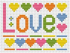 Sew Simple Love Cross Stitch Kit £8.95 | Past Impressions | Fat Cat Cross Stitch