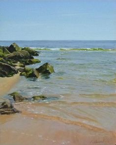 The is an oil painting on panel of the shore at Ocean Grove, New Jersey, on a calm autumn day. The size of the original is 8 by 10 inches.