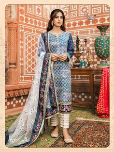 Buy Qalamkar Noor e Chasham Luxury Festive Collection 2019 Embroidered Lawn Unstitched 3 Piece Suit from Sanaulla Store - Original Products. Pakistani Fashion Casual, Pakistani Dresses Casual, Pakistani Dress Design, Indian Fashion, Pakistani Clothing, Bollywood Fashion, Simple Dresses, Stylish Dresses, Nice Dresses