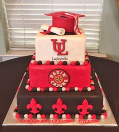 "Cakes by Mindy: ULL Ragin' Cajuns Graduation Cake 8"", 10"" & 14"""