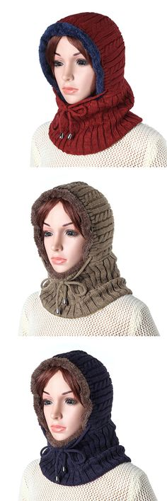 Women Men Warm Thick Knit Beanie Cap With Earmuffs Hooded Scarf Windproof Hooded Neck Warmer Cap #winter #fashion