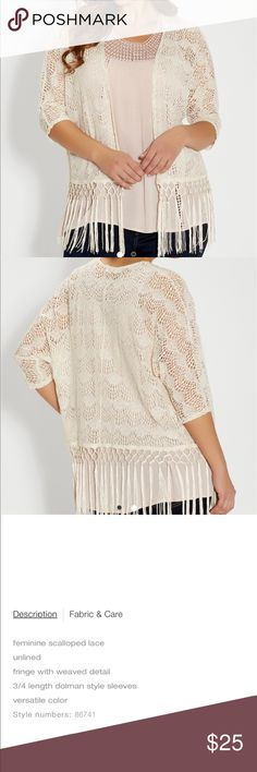 Lace Fringe Cardigan Cute, one size fits all, goes with any outfit for the extra boho look Maurices Sweaters
