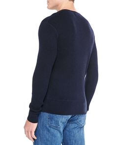 Ribbed Long-Sleeve Henley, Navy
