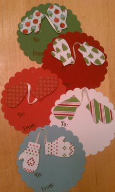 Mittens Christmas gift tags - large (set of 5). $4.50, via Etsy.