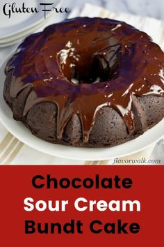 This Gluten Free Chocolate Sour Cream Bundt Cake, is rich, dense, and topped with a fudgy chocolate glaze. Easy to make and perfect for any occasion! Sour Cream Chocolate Cake, Chocolate Pound Cake, Sour Cream Cake, Chocolate Glaze, Best Gluten Free Desserts, Gluten Free Cupcakes, Delicious Desserts, Dessert Recipes, Healthy Desserts