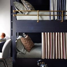 The most stylish bunk beds we have ever seen. Exquisite design by @frampton_co...we love those brass side rails, don't you? | @scoutandnimble Instagram
