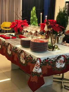 Love this table cloth. Christmas Dining Table, Christmas Table Settings, Christmas Tablescapes, Christmas Table Decorations, Holiday Decor, New Years Decorations, Heart Decorations, Dining Room Paint Colors, Dining Room Table Centerpieces