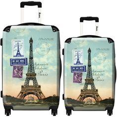 Eiffel tower Paris stamps by Ikase, Multicolor Harside Spinner Luggage Set Paris Room Decor, Paris Rooms, Paris Bedroom, Paris Theme, Tour Eifel, Best Luggage, Luggage Sets, Travel Luggage, Travel Bags