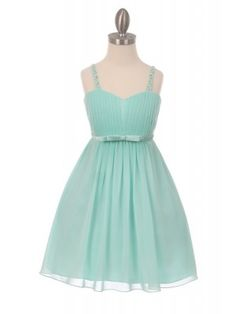 Mint Elegant Chiffon pleated knee high Flower Girls Dresses (Size 4 to 16)