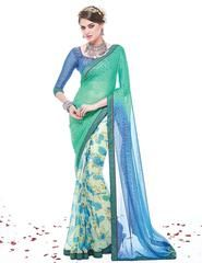 Blue & Green Color Brasso Party Wear Sarees : Runakshi Collection  YF-43069