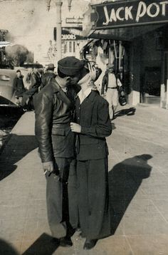 A couple kissing, 1930's