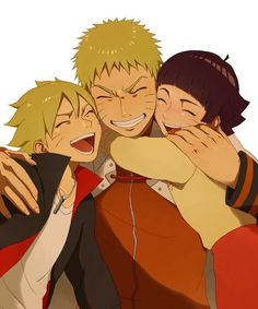 Boruto, Naruto, & Himawari … OMG HOW COULD YOU NOT PIN THIS???? LOOK HOW MUCH HE LOVES THEM!!!!! ^_^