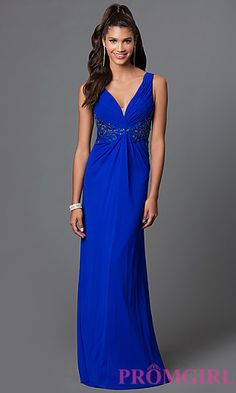 Empire Waist V-Neck Long Sleeveless Dress with Lace Back and Sides by Elizabeth K at PromGirl.com
