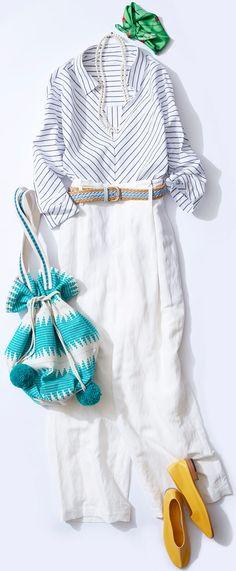 ビビッド小物で個性派マリンコーデ! 夏気分を先取るSAKIDORIアイテムを使ったコーデをご紹介。今週はルミネ有楽町のアイテムから、初夏にふさわしいカラフルなマリンスタイルをレッスン! 女の子をかわいく見せるスタイリングが得意という人気スタイリスト山脇道子さんがアドバイスします! Xl Fashion, Fast Fashion, Modest Fashion, Daily Fashion, Fashion Looks, Womens Fashion, Fashion Trends, Japanese Fashion, Korean Fashion