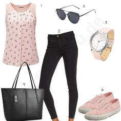 Schwarz-Rosa Outfit mit süßem Anker-Top (w0474) #outfit #style #fashion #womenswear #womensfashion #inspiration #cloth #clothing #shirt #womensstyle #damenmode #frauenmode #mode #styling #sneaker #dress #summerstyle
