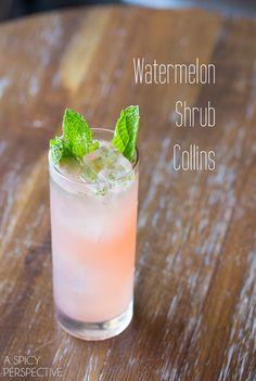 Watermelon Shrub Collins #cocktail #recipe