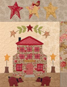 A bit of the A Woodland Christmas Block of the Month by Bunny Hill Designs! Features Vin du Jour by 3 Sisters