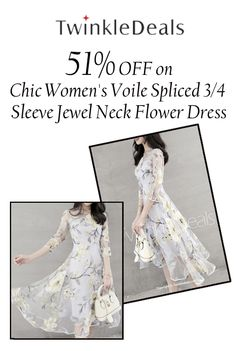 Twinkle Deals is offering 51% discount on Chic Women's Voile Spliced 3/4 Sleeve Jewel Neck Flower Dress. Order now and avail this offer. For more Twinkle Deals Coupon Codes visit: http://www.couponcutcode.com/stores/twinkledeals/