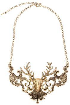#Gold Hollow #Deer #Necklace
