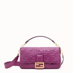 d7e4828170a8 FENDI BAGUETTE LARGE - Purple leather bag - view 1 detail Leather Bag, Calf  Leather